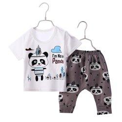 ชุดเด็กชุดเสื้อยืดเด็กลายหมีแพนด้า และกางเกงขายาวราคาถูก