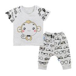 ชุดเสื้อยืดเด็กลายลิง และกางเกงขายาว