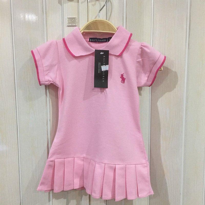 ชุดเดรสโปโล ชุดกระโปรงจีบโปโล(POLO) สีชมพู