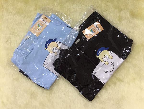 ชุดเสื้อยืด T-Shirt ลายหมีกับกางเกงลายยีนส์ 4 ส่วนยางยืด ภาพสินค้าจริง