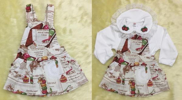 เอี๊ยมเด็ก ลายขนมมาการอง มีกระเป๋าหน้า กางเกงจีบรอบตัวและมีกระเป๋า 2 ข้าง